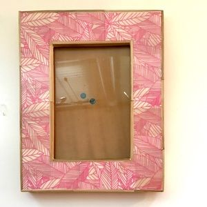 ANTHROPOLOGIE tropical pink wood tabletop frame